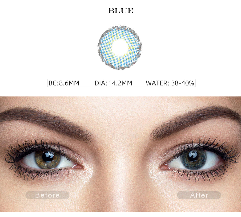 Premium Candy Blue colored contact lenses with before and after photo