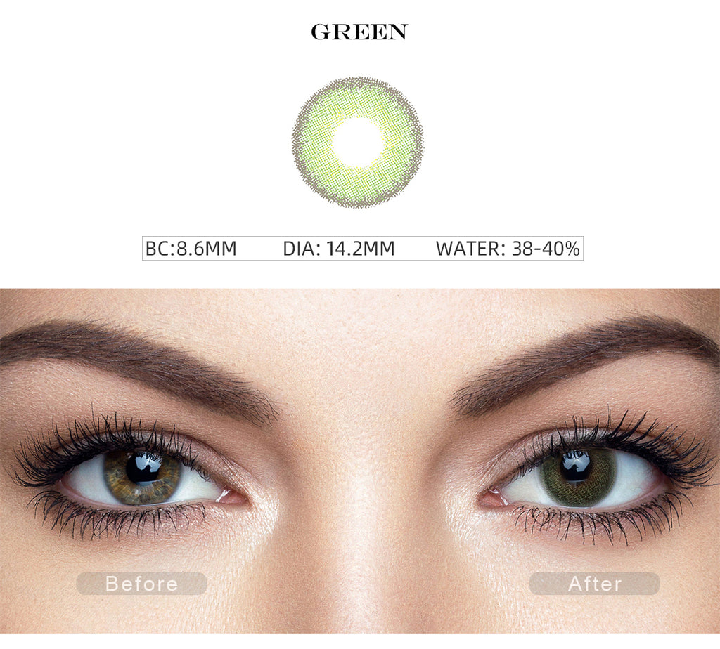Premium Candy Green color contact lenses with before and after photo