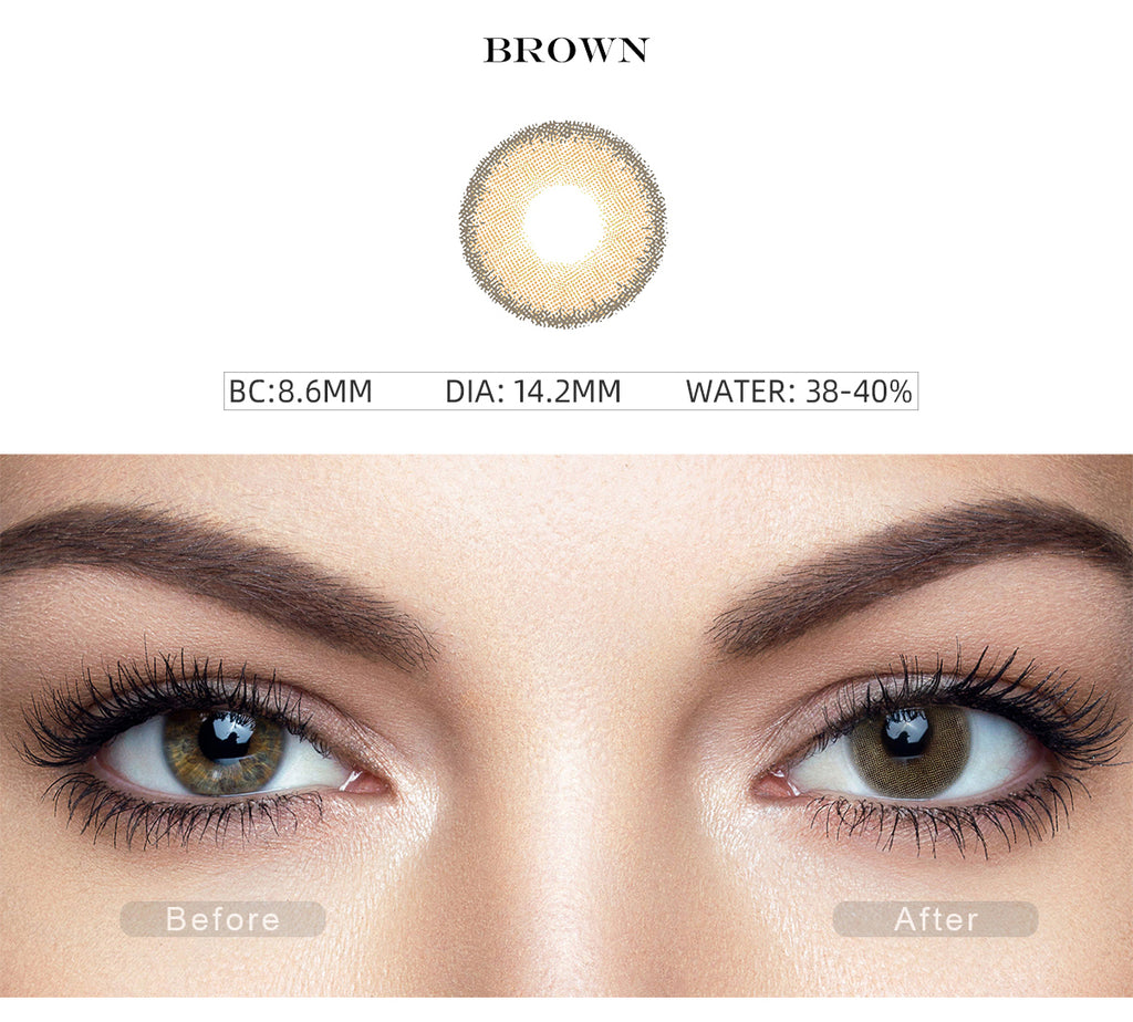 Premium Candy Brown colored eye contacts with before and after photo