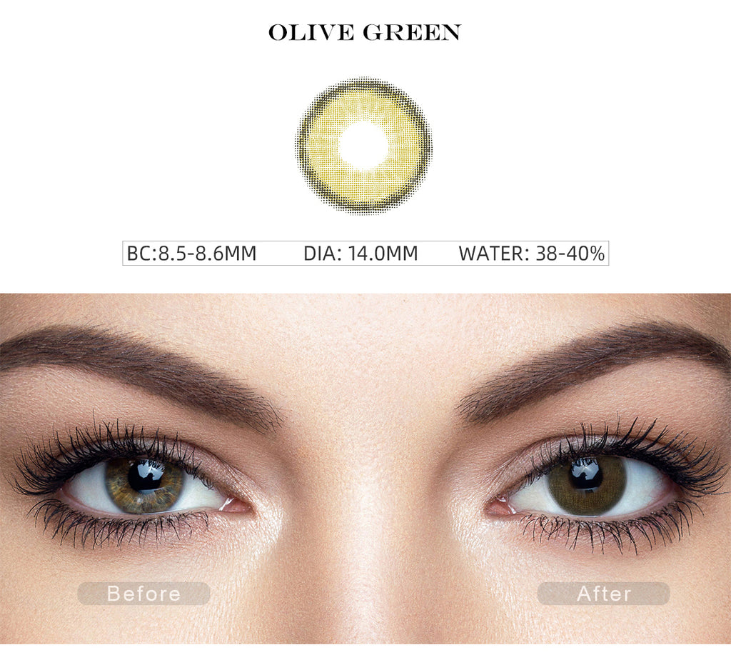 Canna Roze Olive Green contact lenses with before and after photo