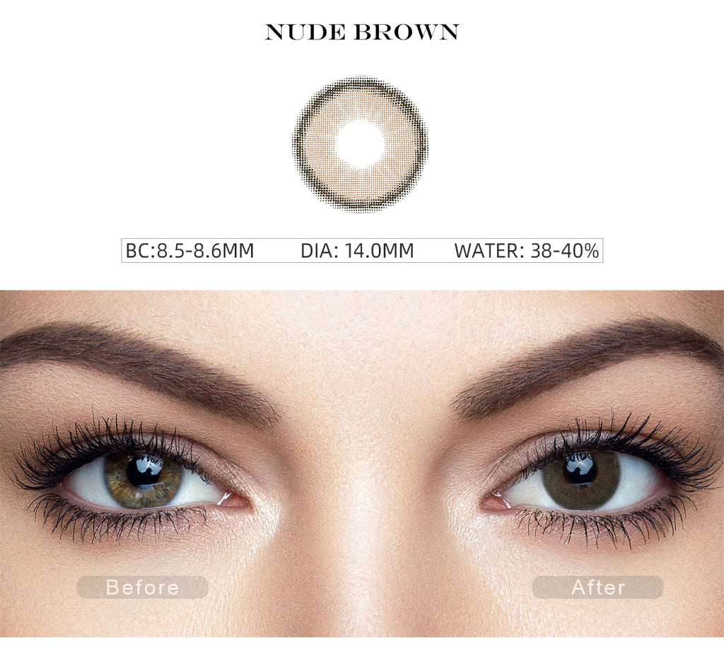 Canna Roze Nude Brown color contact lenses with before and after photo
