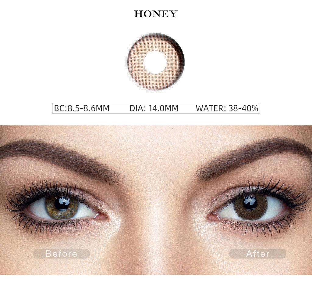 Canna Roze Honey Brown color contact lenses with before and after photo