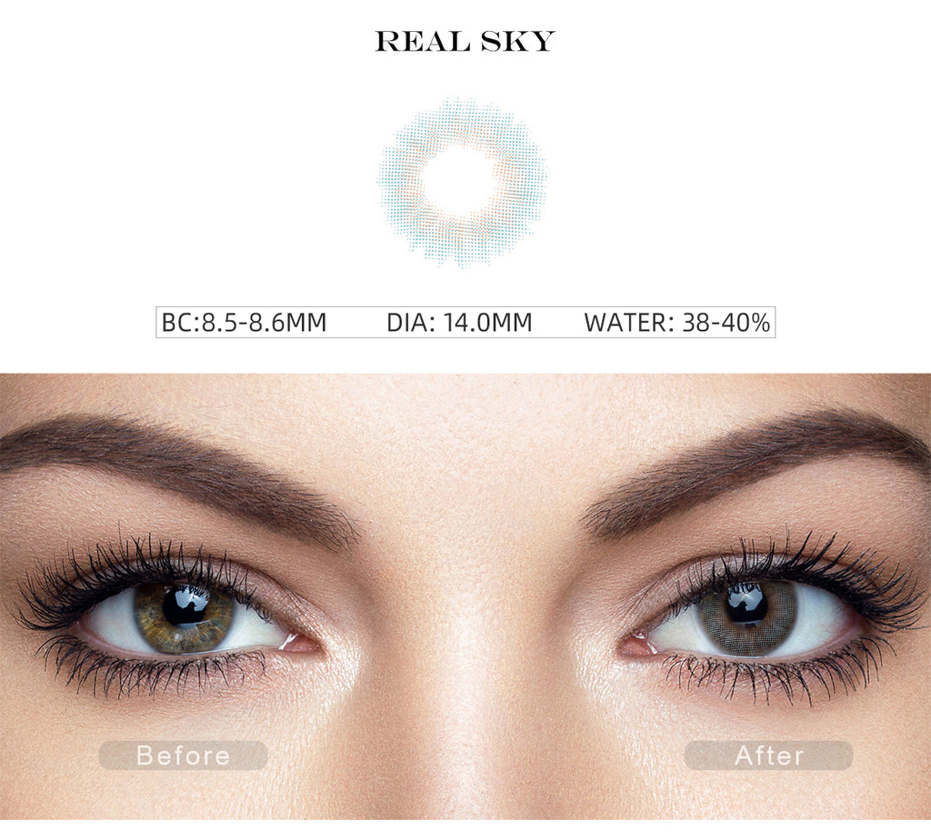 Spanish Real Sky color contact lenses with before and after photo