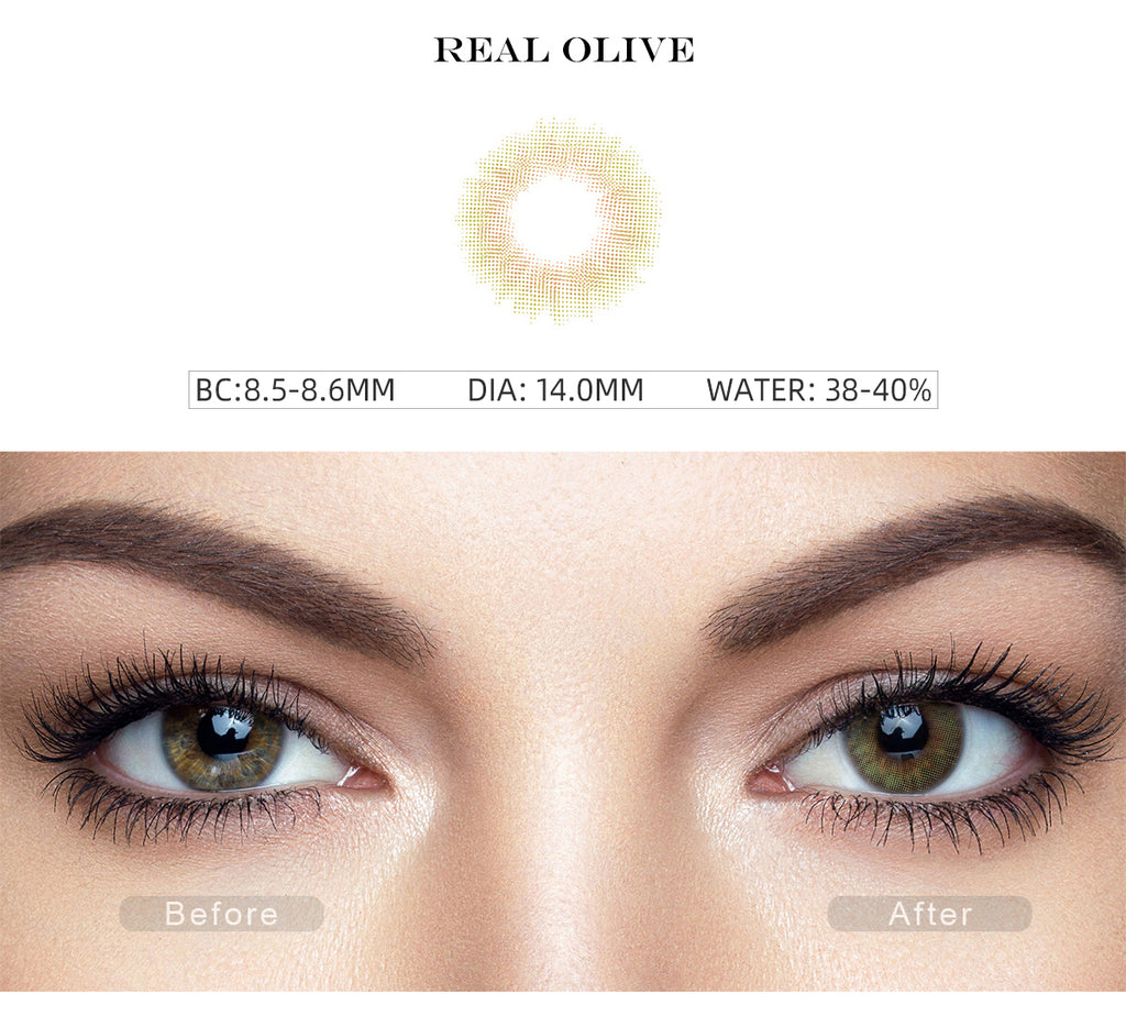 Spanish Real Olive color contact lenses with before and after photo
