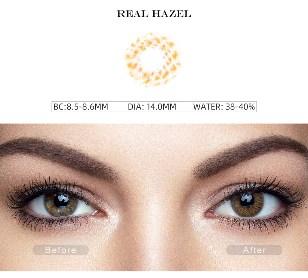 Spanish Real Hazel color contact lenses with before and after photo