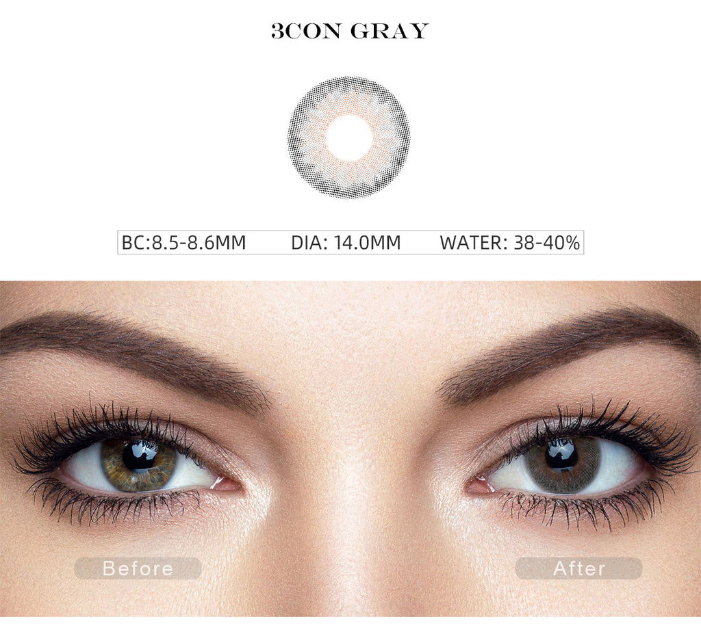 Symphony 3Con Gray color contact lenses with before and after photo
