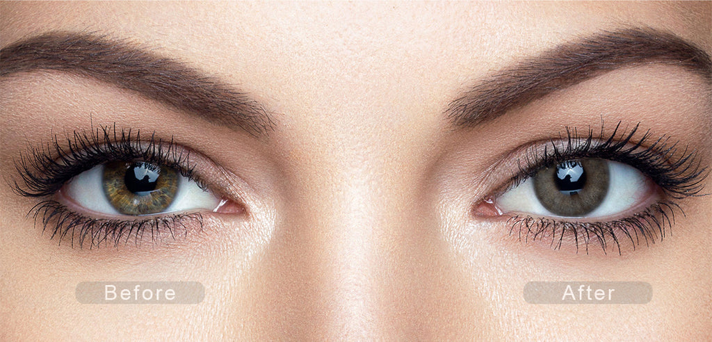 Charcoal Gray color contact lenses with before and after photo