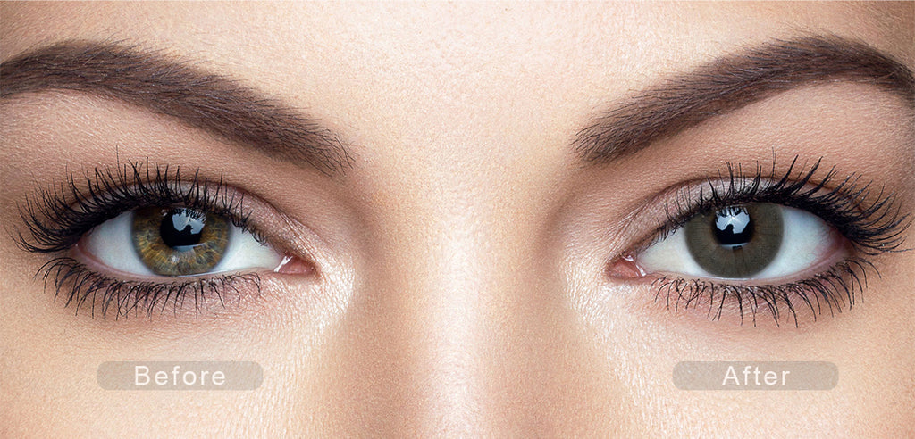 Mint Gray color contact lenses with before and after photo