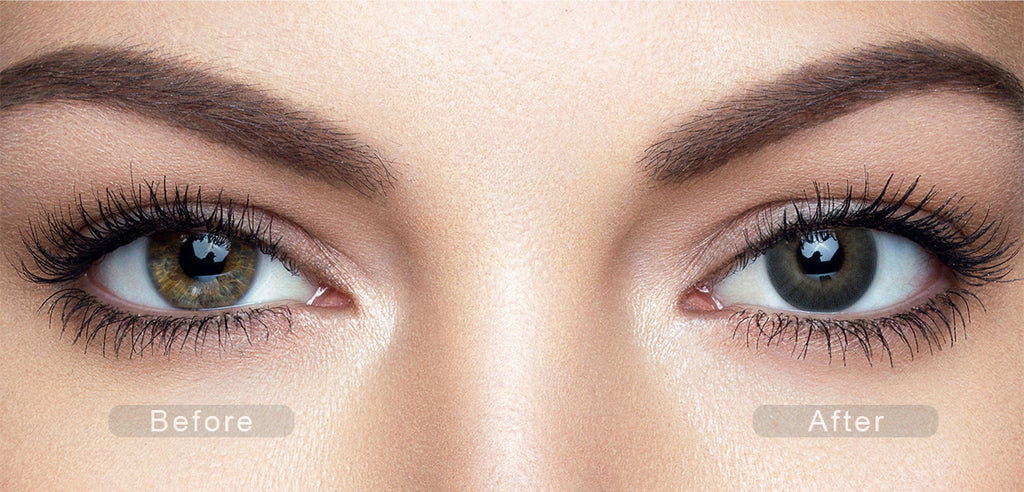 Topaz blue color contact lenses with before and after photo
