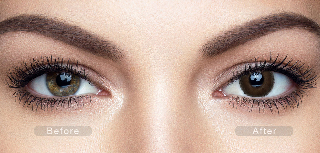 Latte Brown color contact lenses with before and after photo