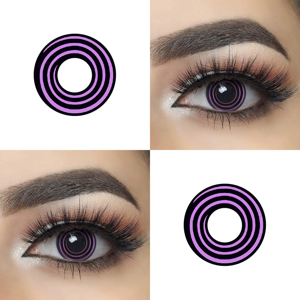Violet Spiral Halloween Contacts Picture and Crazy Looking Eye Effect