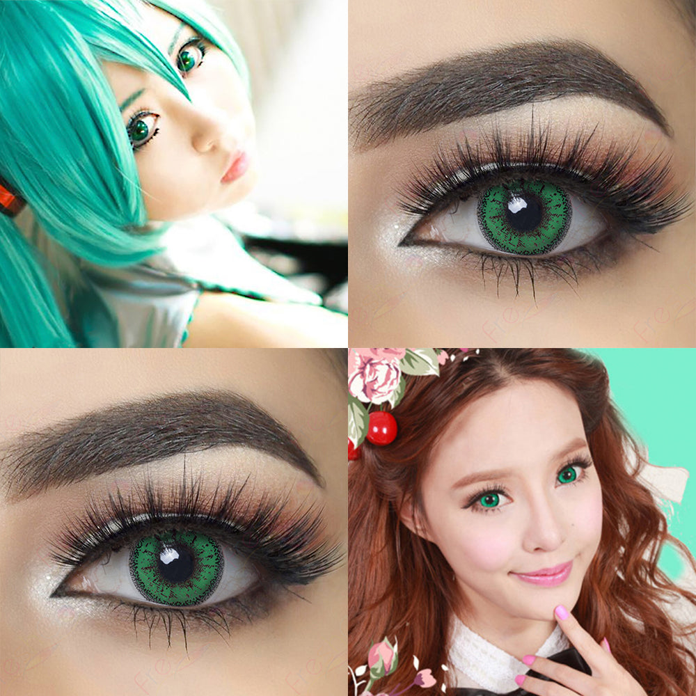Dolly Eye Green Halloween Contact Lenses Eye Effect and Model Cosplay Crazy Looking