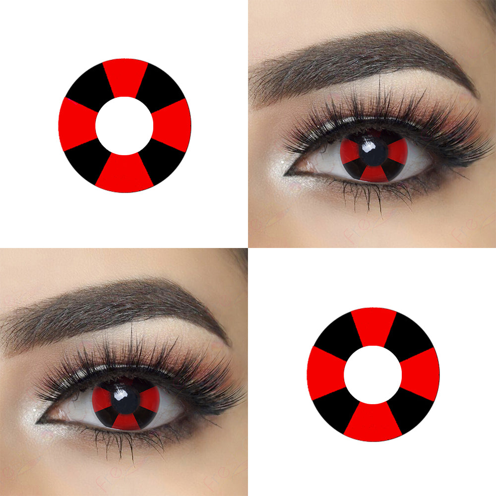 Red Black Cross crazy contact lenses with model lens photo