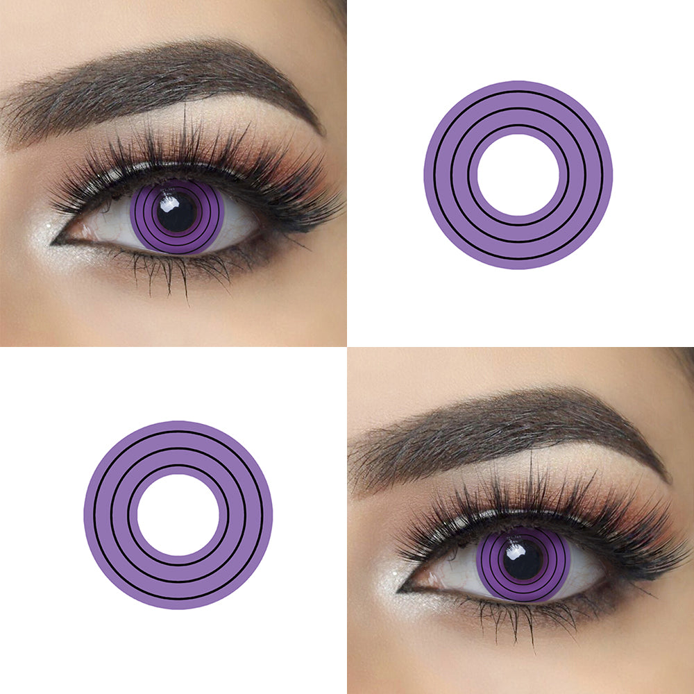 Purple Spiral Halloween Contacts Picture and Eye Effect