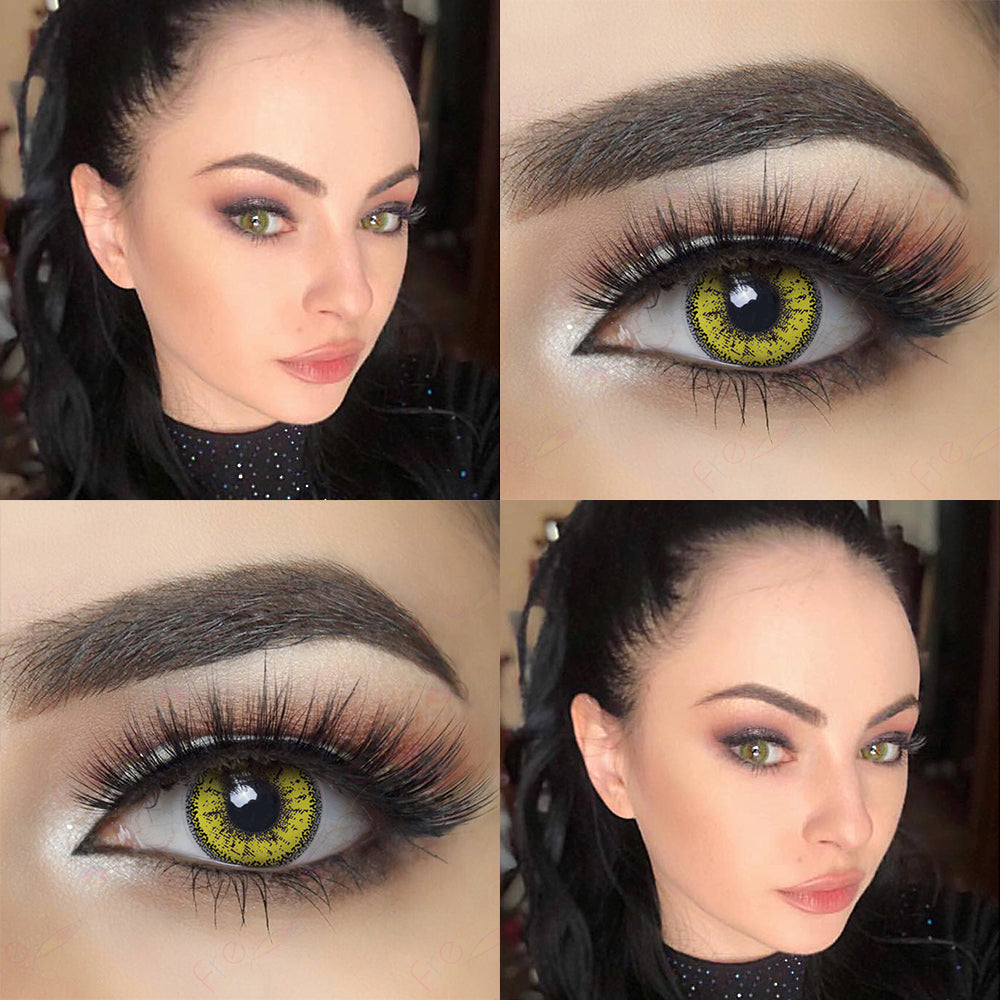 Picture of Model with Dolly Eye Yellow Halloween Contacts