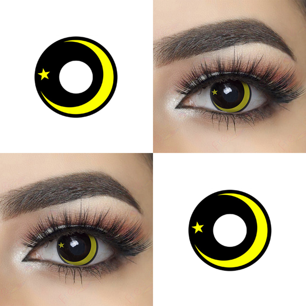 Yellow Galaxy Halloween Contact Lens Picture and Eye Effect