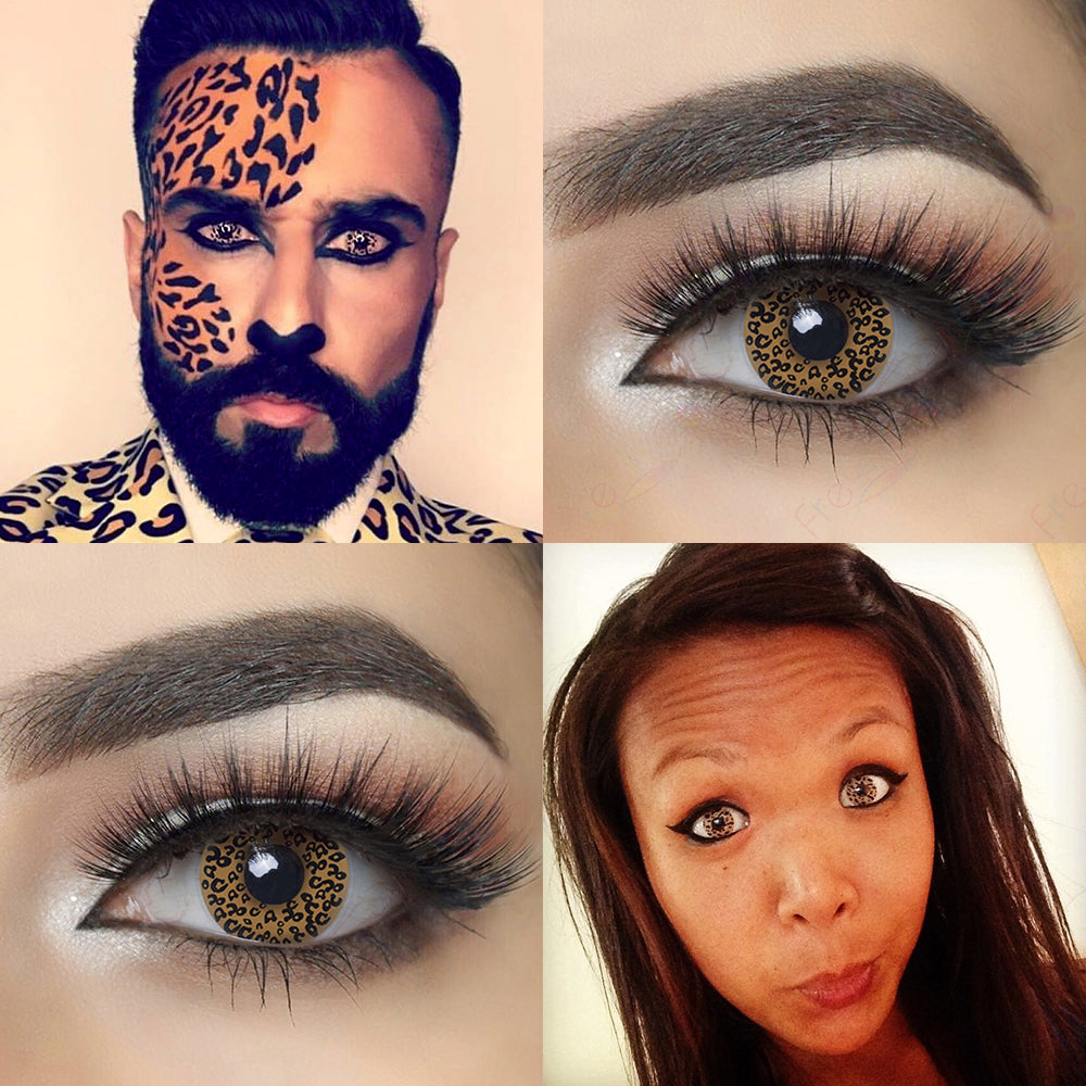 Crazy Leopard Halloween contacts with model lens photos