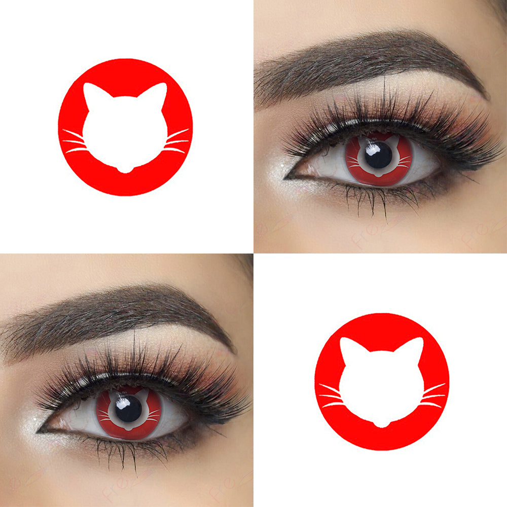 Red Kitty Halloween Contacts Picture and Eye Effect