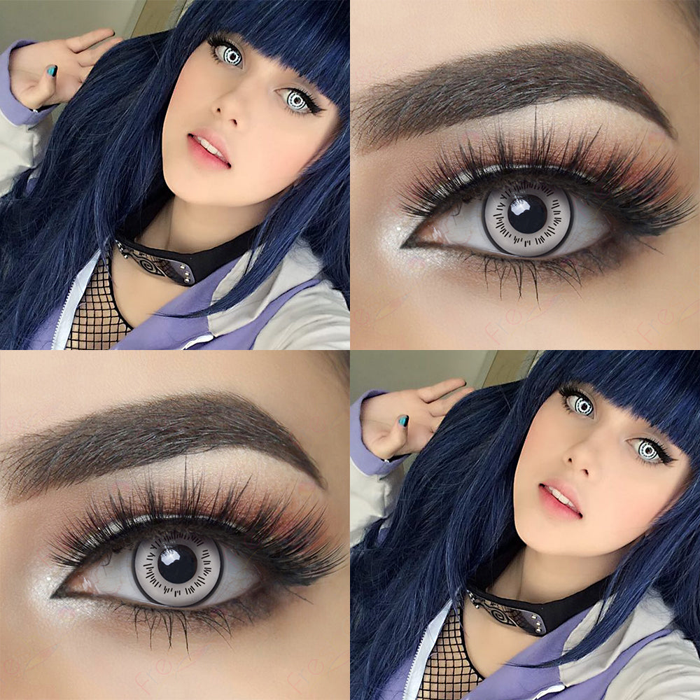 Picture of Eye Effect and Model with White Hinata Byakugan Halloween Contacts for Naruto