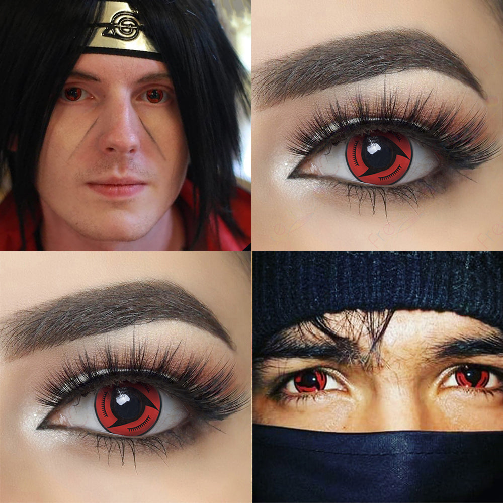 Picture of Eye Effect and Model with Naruto Magekyu Sharingan Halloween Contacts