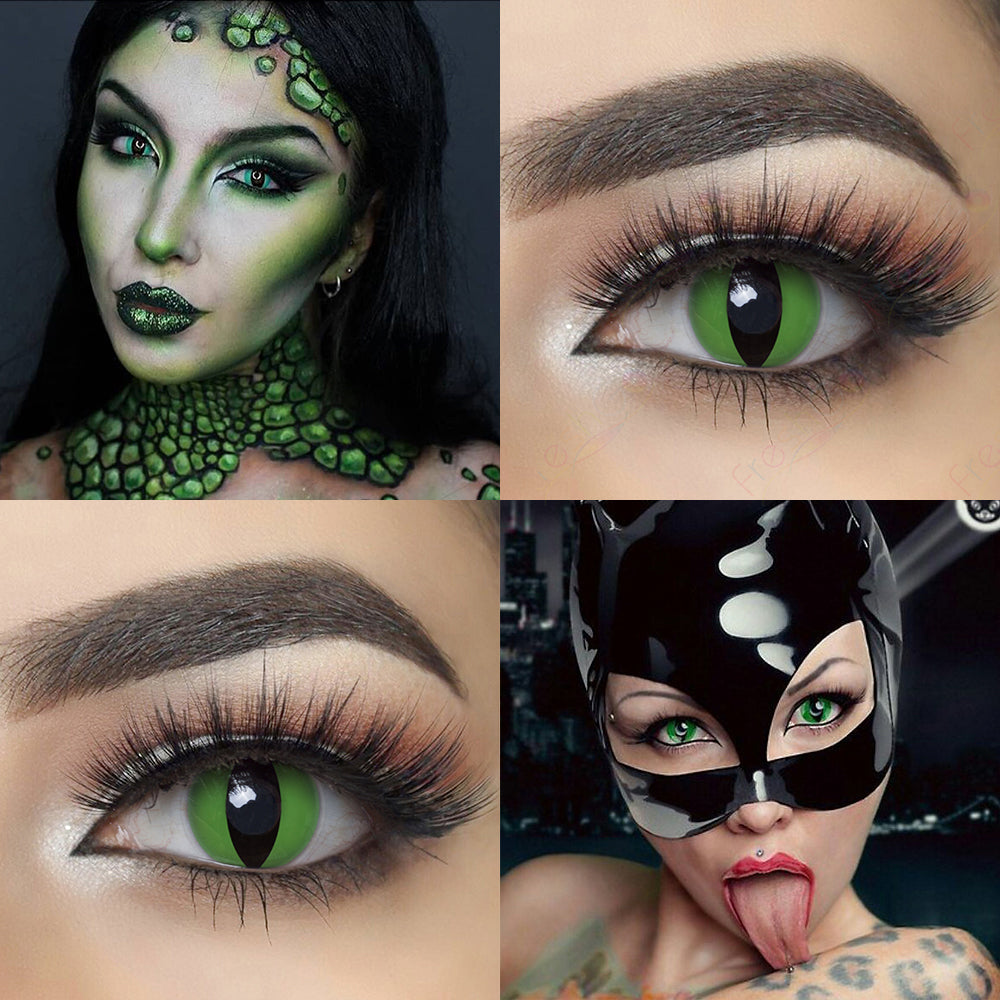 Green Cat Eye crazy contact lenses with model and eye effect photo