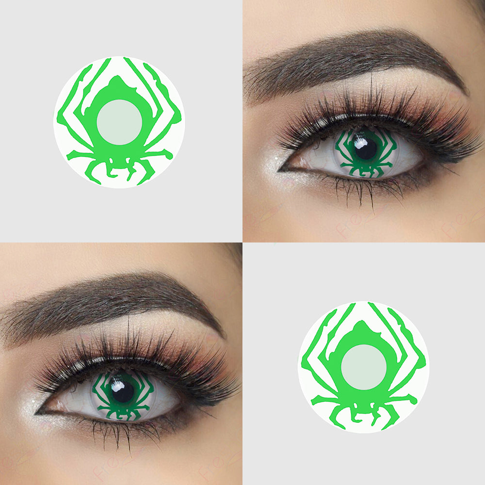 Green Spider Halloween Contacts Eye Effect and Lens Picture