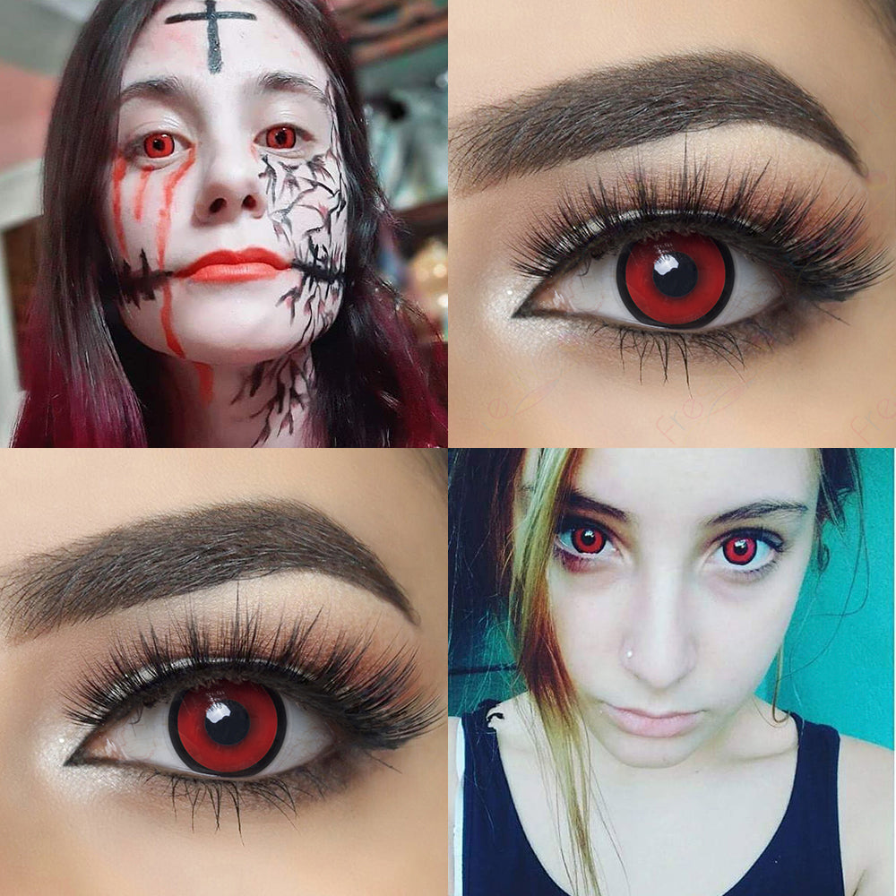 Red Manson Halloween contacts with eye effect and model lens photo