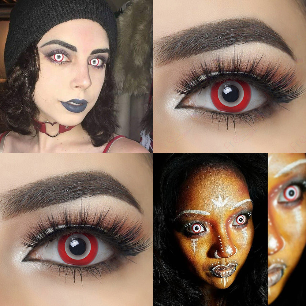 Red Ring Halloween contacts with eye effect and model lens photo