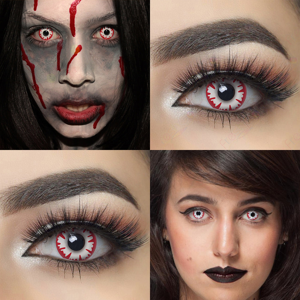 White Demon Halloween Contacts Crazy Eye Looking and Model Cosplay Looking