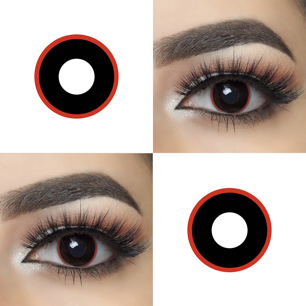 Red Rim crazy contact lens with eye effect and lens photo