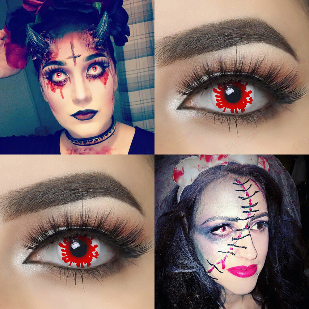 Model with Blood Splat Halloween Contacts