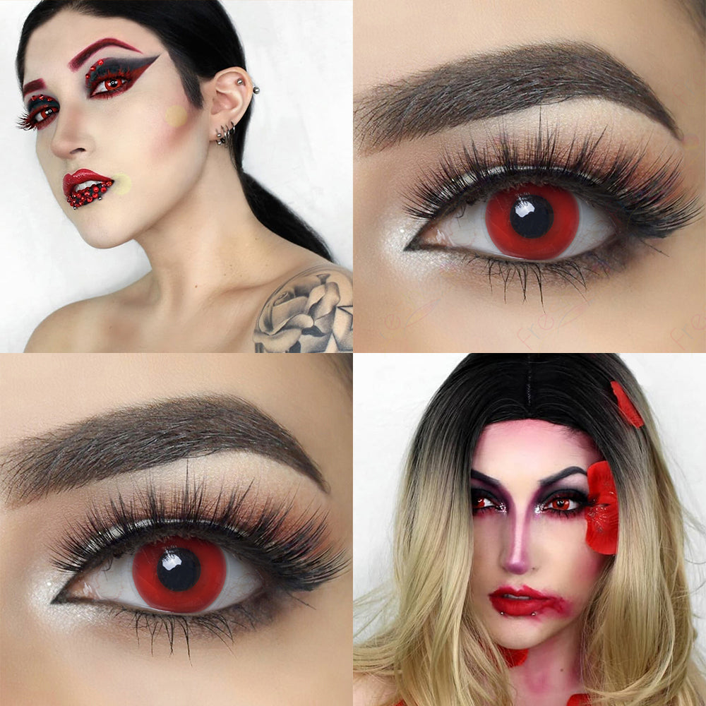 Redout Halloween contacts with crazy looking model and eye effect photo