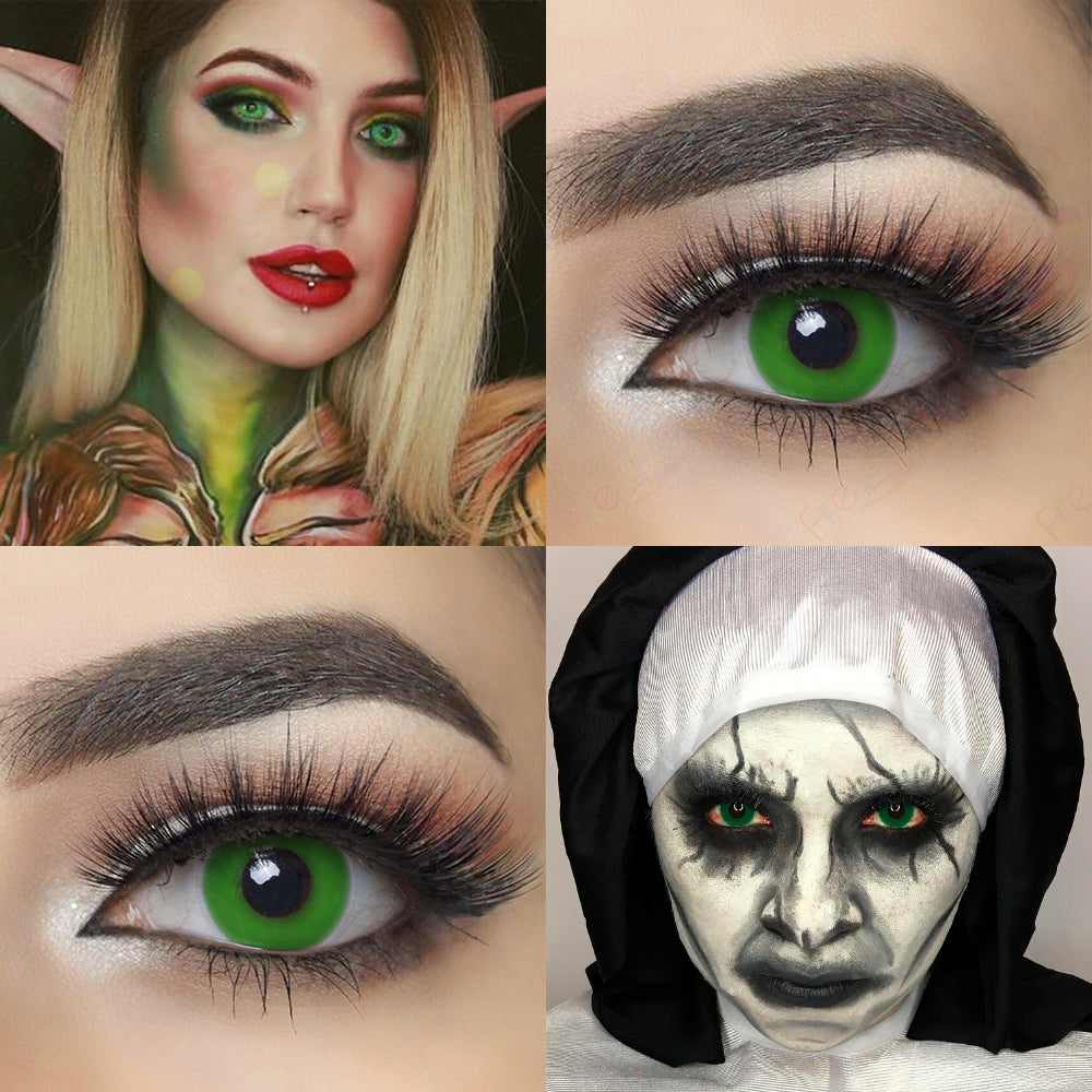 Greenout Halloween contacts with crazy looking model and eye effect photo