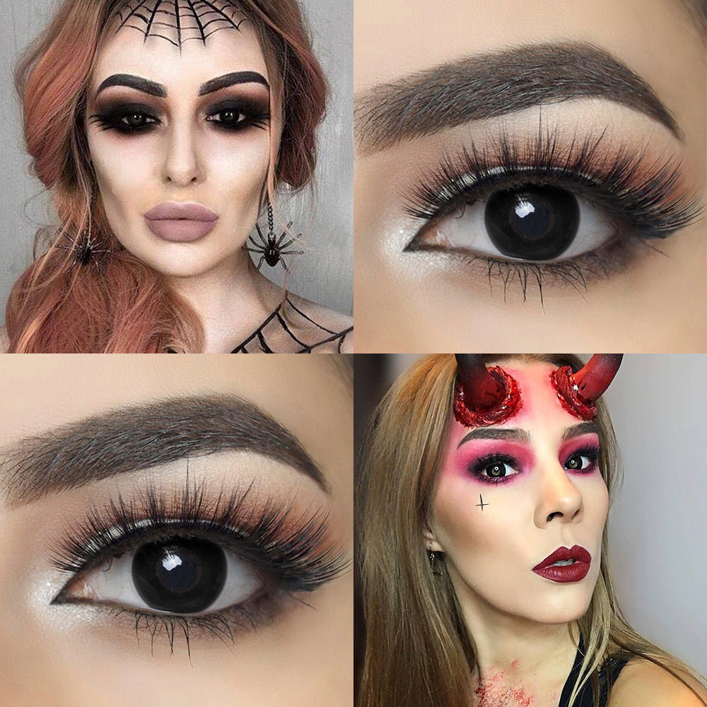 Blackout Halloween contacts with model and eye effect photo