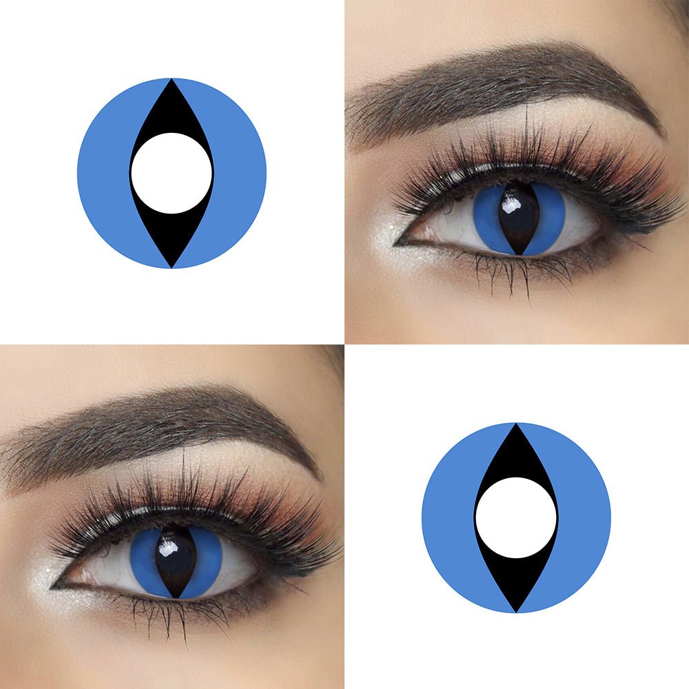 Blue Cat Eye Halloween Contacts Crazy Looking Eye Effect and Lens Picture