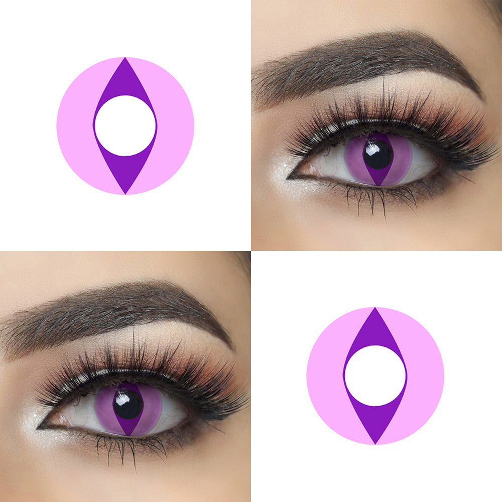 Violet Cat Eye Halloween Contacts Eye Effect and Lens Picture