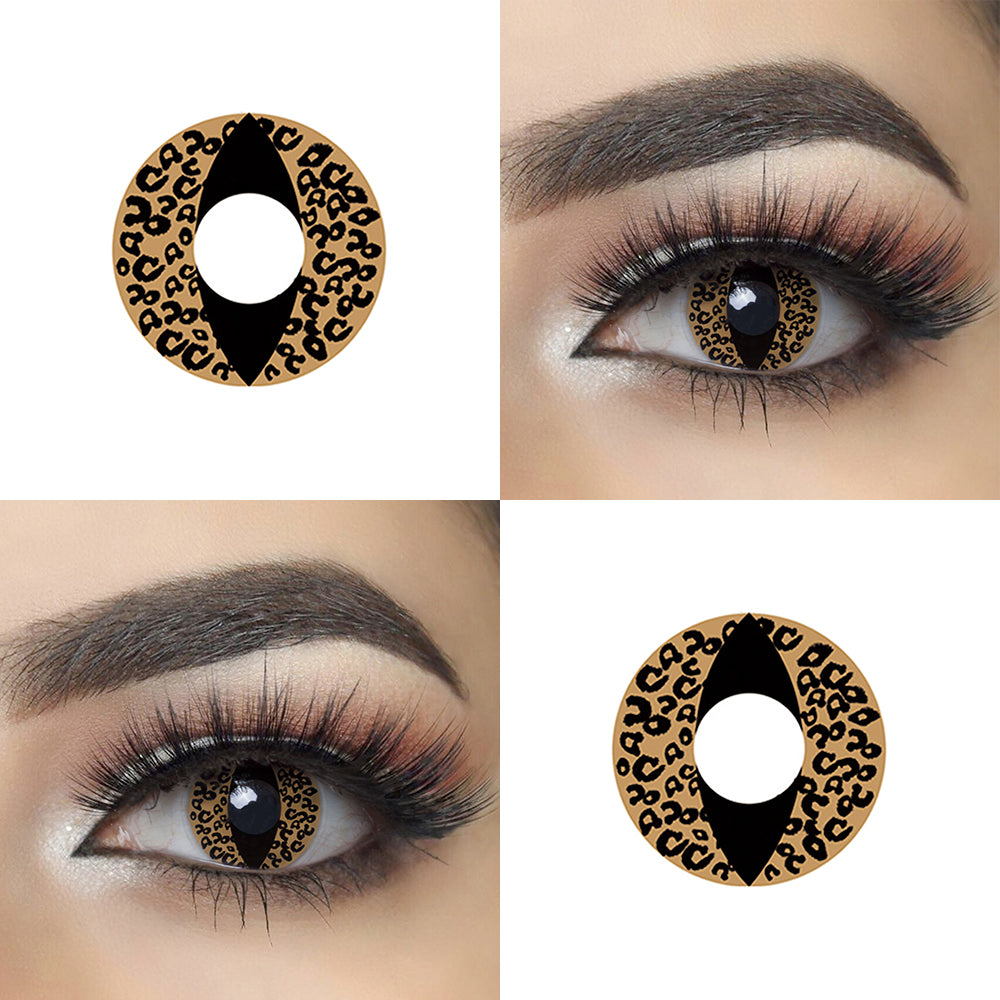Brown Cheetah Cat Eye Halloween Contacts Picture and Eye Effect