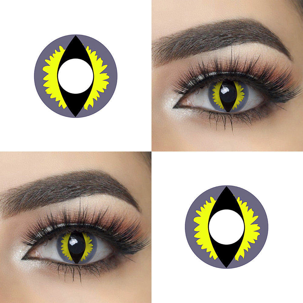 Green Dragon Eye cosplay contact lens with model lens photo