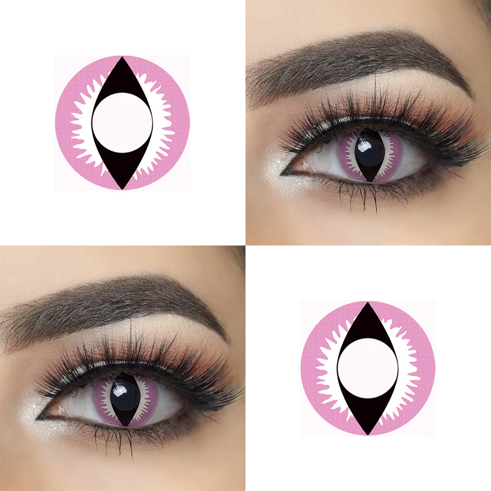 Pink Dragon Eye Halloween contacts with eye effect and lens photo