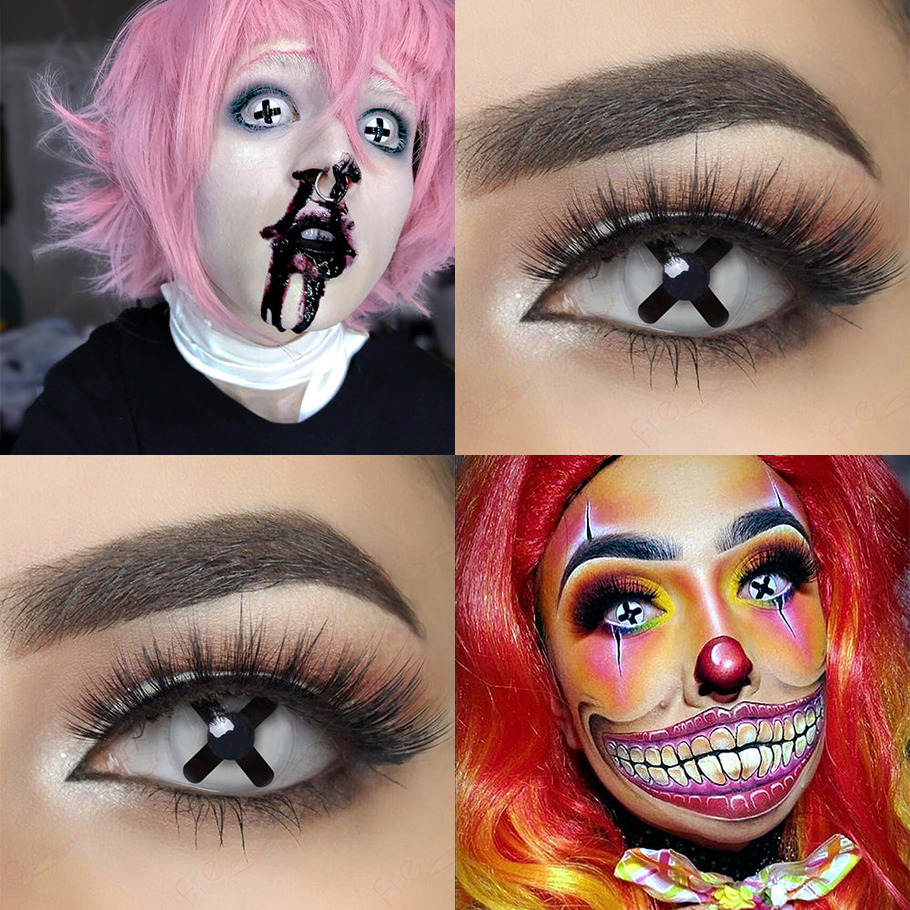 Black Cross Halloween contacts 14.0mm with model lens photo