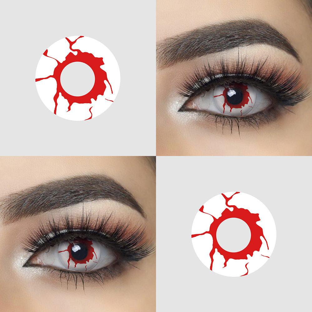 Blood Shot crazy contact lenses with model lens picture