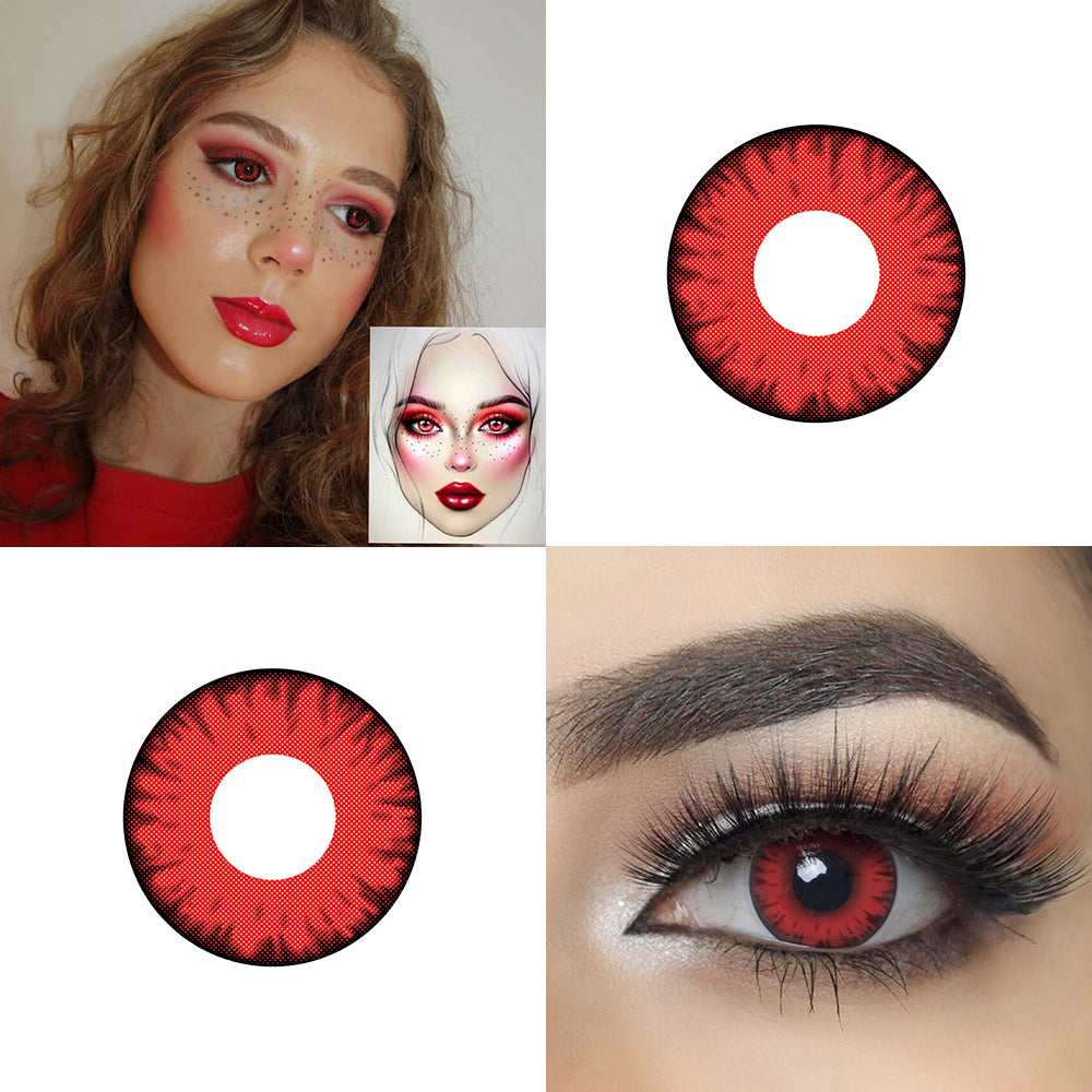 Red Volturi Halloween contacts eye effect and model lens photo
