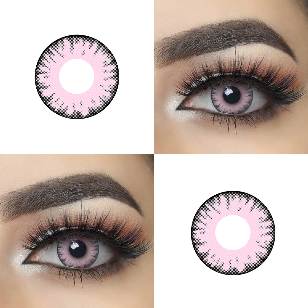 Pink Twilight Vampire Halloween Contact Lens Picture and Eye Effect