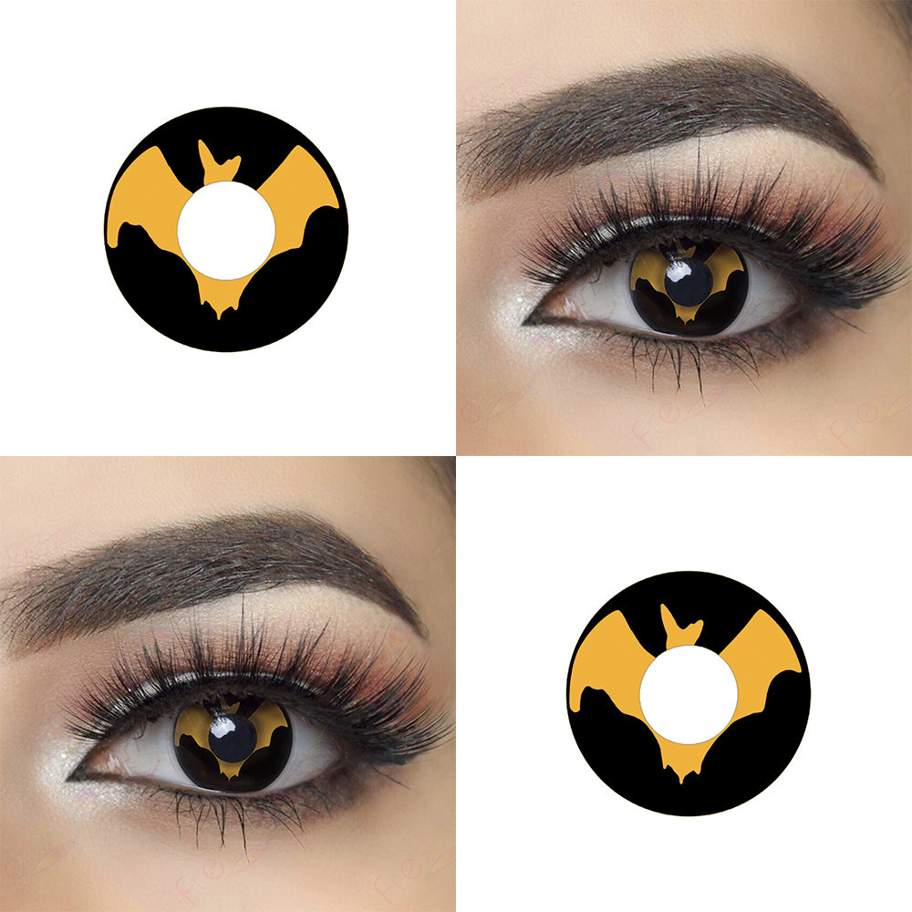Brown Bat Halloween Contacts Picture and Crazy Looking Eye Effect