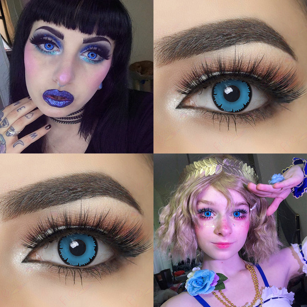 Blue Pixie Halloween contacts eye effect and model lens photo