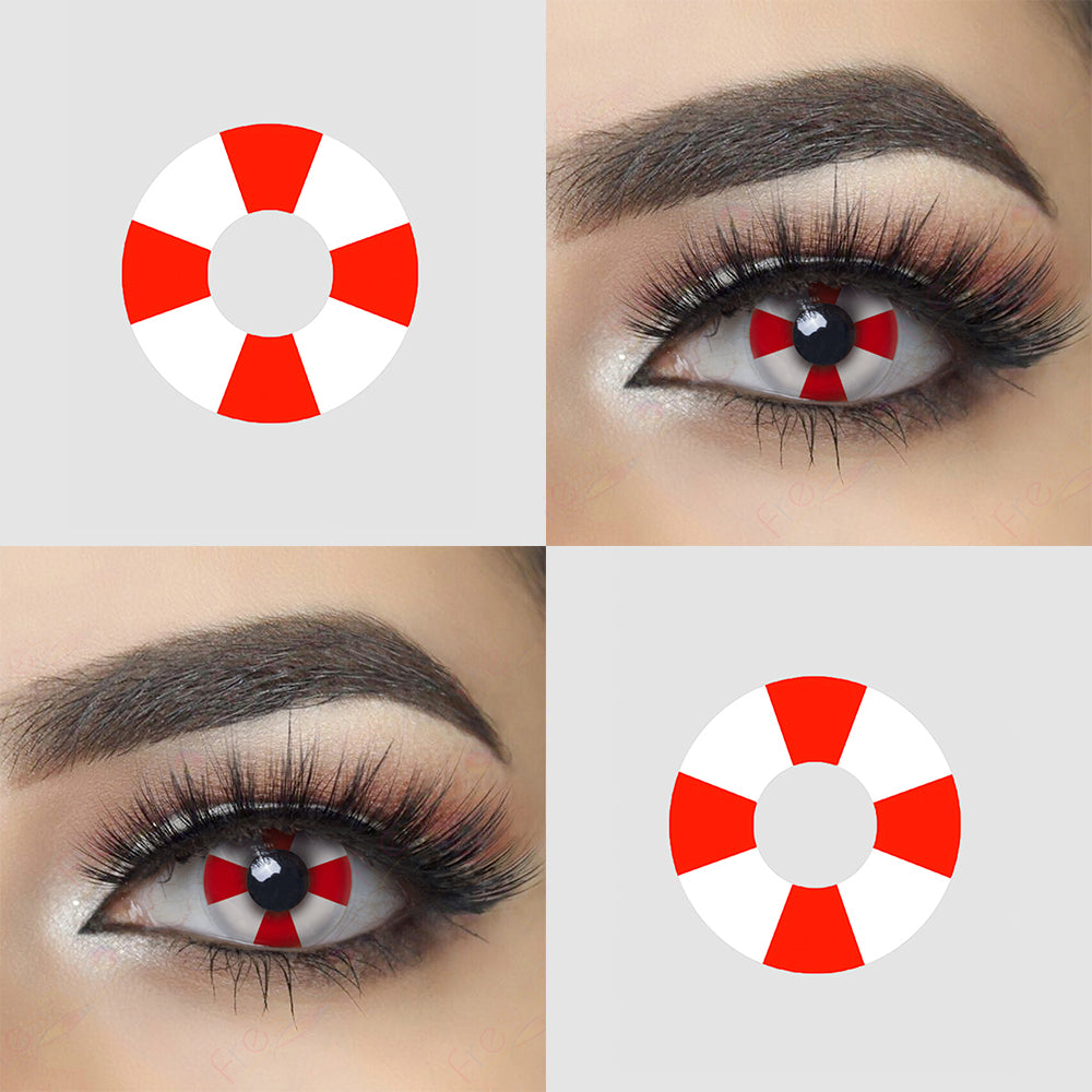 Red Cross crazy contact lenses with model lens photo