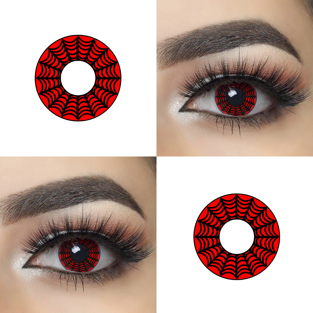 Red Web Halloween Contacts Picture and Eye Effect