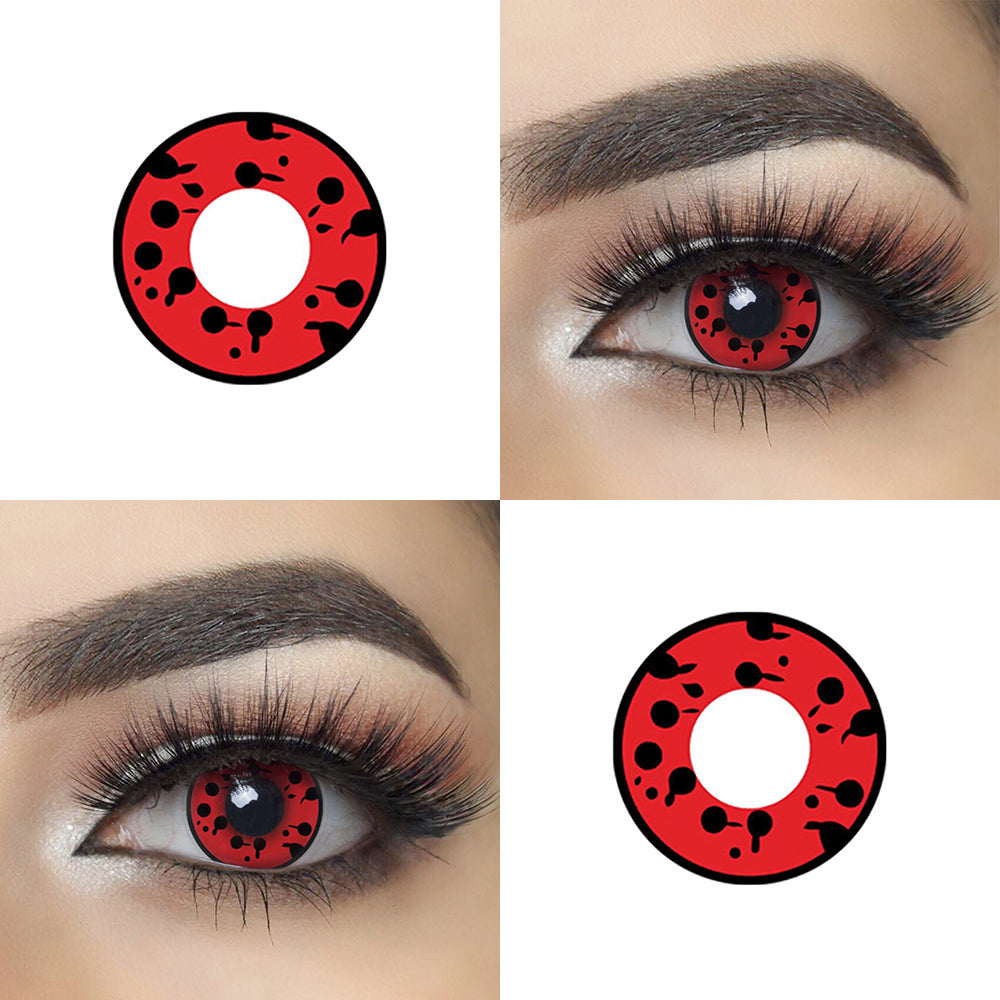 Blind Virus cosplay contact lens with model lens photo