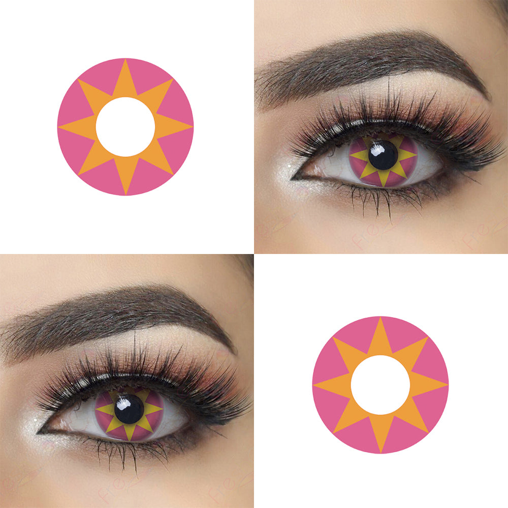 Pink Star Halloween contacts with eye effect and lens photo