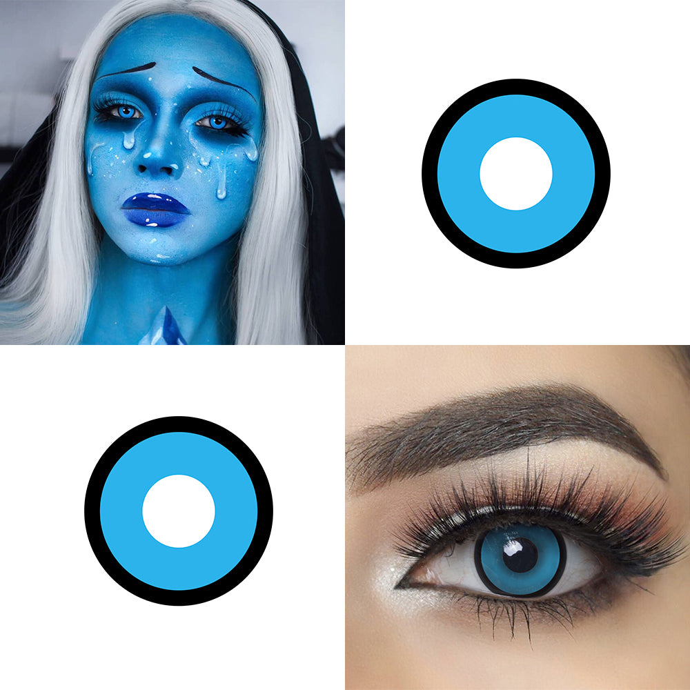 Blue Manson Halloween contacts with eye effect and model lens photo